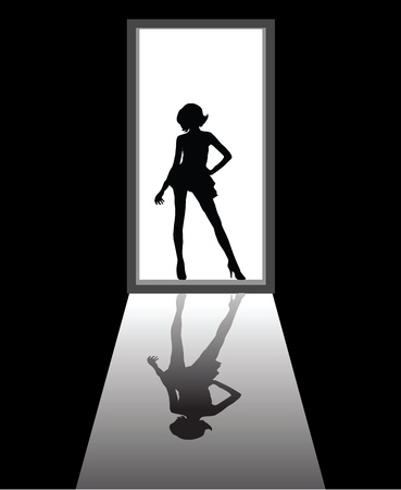 seduction: to illustrate a dream girl that appear in front of door.