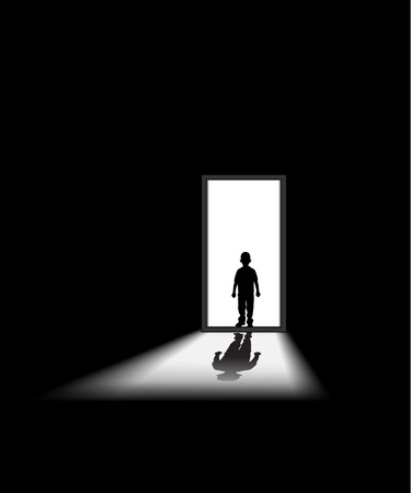 helpless: kid enters a dark room, to illustrate concept of unknown and fear