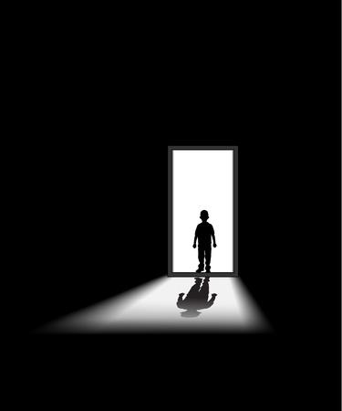 kind komt in een donkere kamer, om te illustreren concept van onbekende en angst