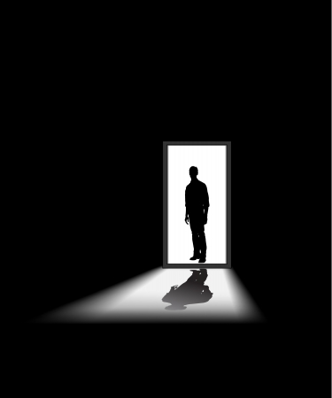 man enters a dark room, to illustrate concept of unknown and fear Vector