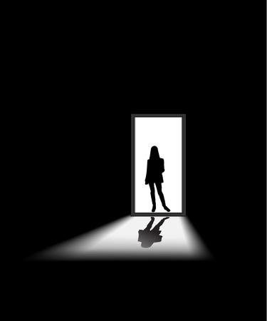 doorway: woman enters a dark room, to illustrate concept of unknown and fear