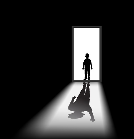 eerie: to illustrate a nightmare of kid, the shadow of himself is waving at him.