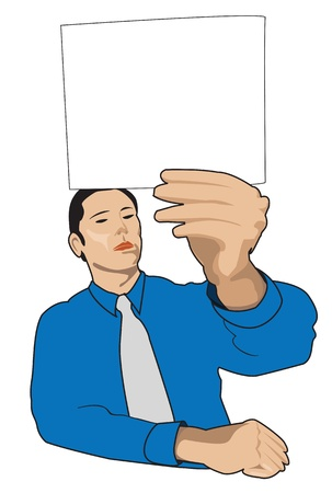 annoucement: illustration of business man with no expression, holding a card or message.