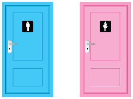 public restroom: toilet sign on doors, blue and pink colour.