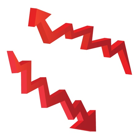 downward: red arrow vector illustrations in 3d form, for economic concepts.
