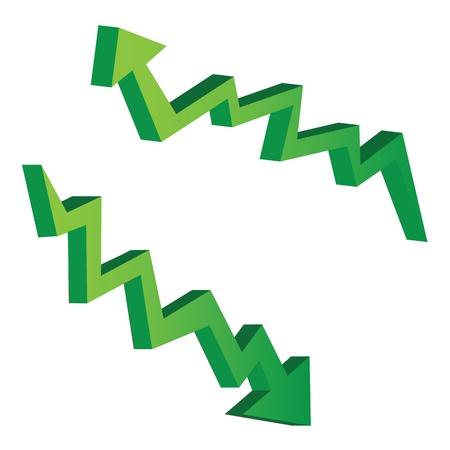 �conomie verte: verts illustrations vectorielles sous forme de fl�ches 3D, des concepts �conomiques.