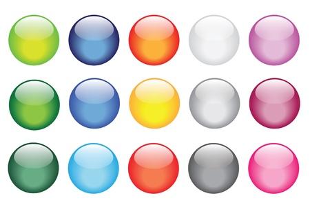 esfera de cristal: ilustraciones de vectores de botones de cristal brillantes para los iconos.