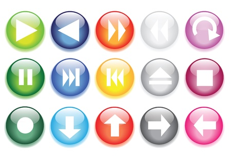 vector illustrations of glossy glass buttons for icons. Vector