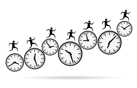 gestion del tiempo: ilustraciones de vectores de los conceptos de ocupados, acabando el tiempo.