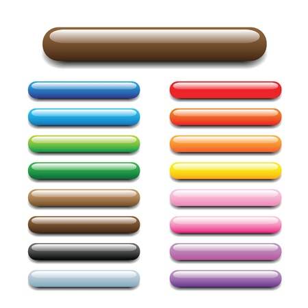 usage: glossy, shiny candy looking elongated bars for website, internet, design and other usage. Please check round and square sets which are available in my profile.  Illustration