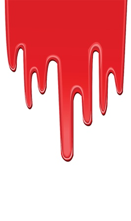 rode druipende verf, realistisch uitziende. Vector Illustratie
