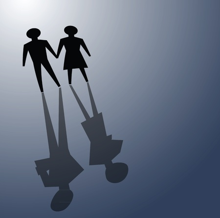 affairs: illustrations of broken relationship, couple shadow was ignoring each other. Illustration