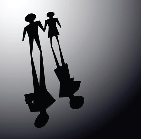 壊れた関係のイラストは、カップルの影を無視していました互い。  イラスト・ベクター素材