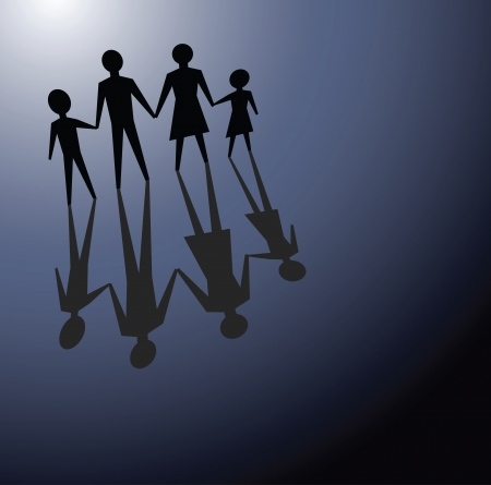 problemas familiares: ilustraciones para transmitir conceptos de los problemas familiares, en la oscuridad.