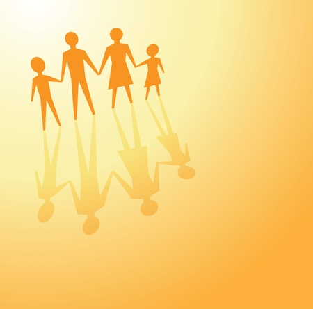 hopeful: to illustrate a family concept, father, mother and children in bright color.