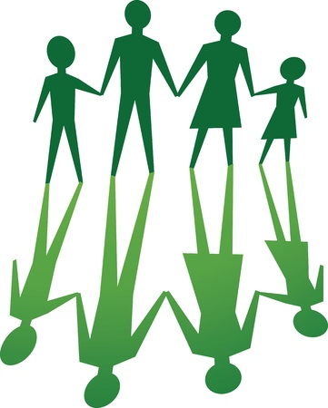 silhouette of family, in green tone.
