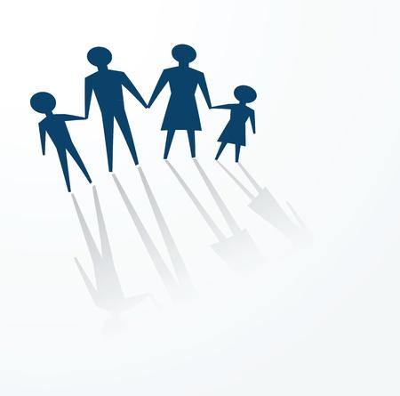 psicologia infantil: para ilustrar un concepto de familia, padre, madre e hijos.