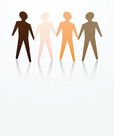 racisme: concept van de mannen zijn gelijk met verschillende huidskleur Stock Illustratie