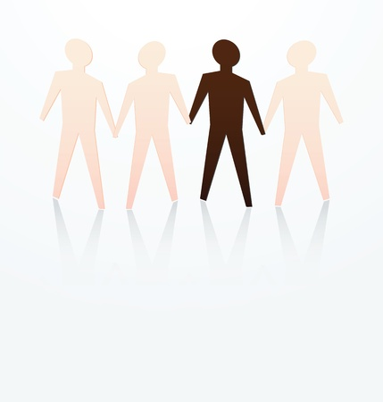 racial: illustration of racism concept, dark skin among fair skin