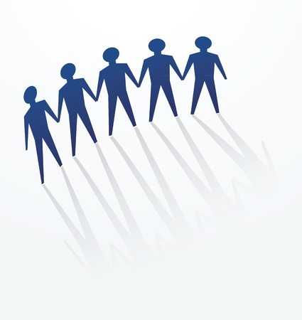 uniting: a row of man cutout for concepts of defence, protest, protect, unity or others. Illustration
