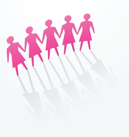hand holding paper: a row of woman cutout for concepts of defence, protest, protect, unity or others.