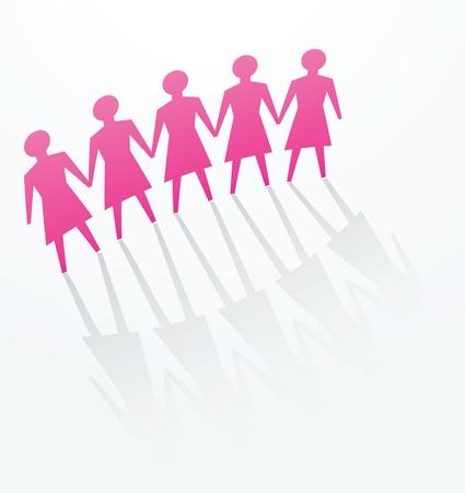 derechos humanos: una fila de recorte de la mujer para los conceptos de defensa, la protesta, la protecci�n, la unidad o para otros.