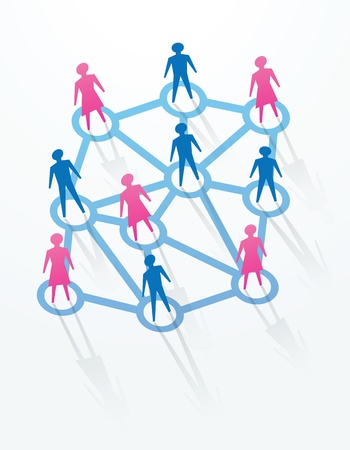 man and woman paper cutout people sihouettes, with connections with everyone. Stock Vector - 11822960