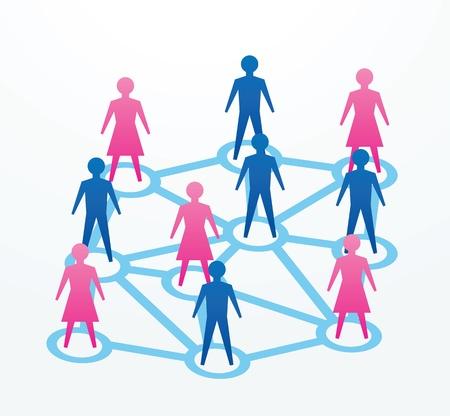 vie sociale: homme et la femme de papier d�coup�es personnes sihouettes, avec des liaisons avec tout le monde.