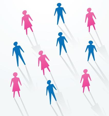 vida social: hombre y una mujer de papel recortadas sihouettes personas, para la vida social en la sociedad.