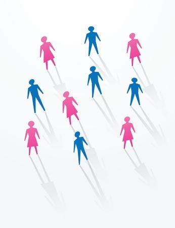 vie sociale: homme et une femme de papier d�coup�es sihouettes personnes, de la vie sociale dans la soci�t�.