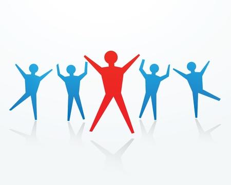 cheer leader: recortes de papel del hombre en el baile y animando plantean, para ilustrar las noticias felices. Vectores