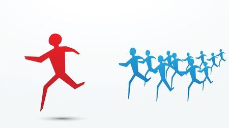 follow the leader: tot wedstrijden, jagen of trend te illustreren volgende begrippen. Stock Illustratie