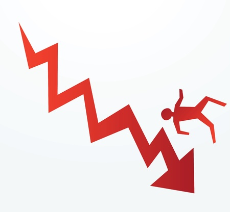 demotion: to illustrate of progress of an down trend economy or corporate fall.