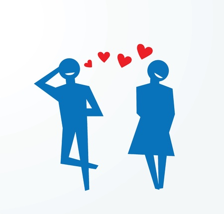 courtship: to illustrate concepts of falling in love, couples happily smiling. Illustration
