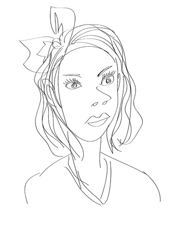 free hand: a quick sketch of a woman Illustration