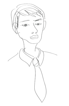 disappoint: a quick sketch of a office man.