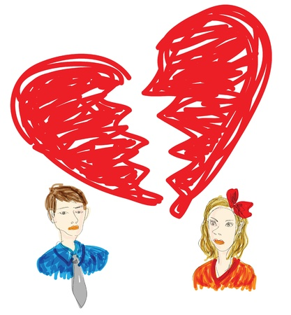 breakup: drawing in messy graffiti style to illustrate a broken relationship. Illustration