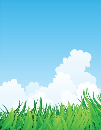 countryside illustration, green grass and blue sky. Stock Vector - 11822965