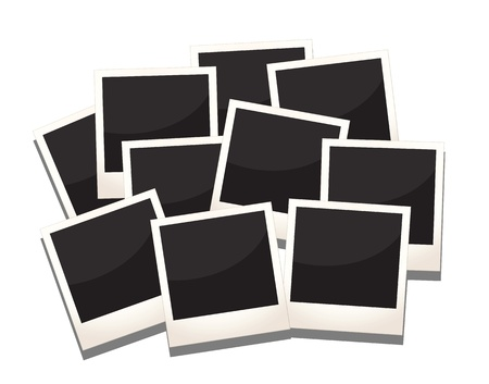 a stack of photos frames, replace with images and messages. Vector