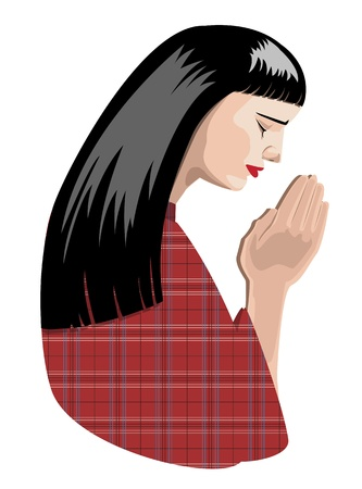 mujeres orando: ejemplo de oración mujer, en formato vectorial. Vectores