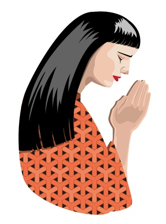sincere girl: illustration of praying woman, vector format.