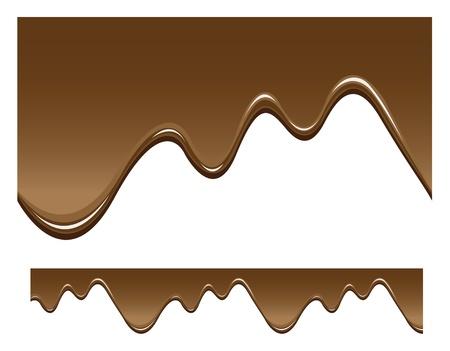chocolate melt: cioccolato sfondo trasparente, liquido gocciolante. Vettoriali