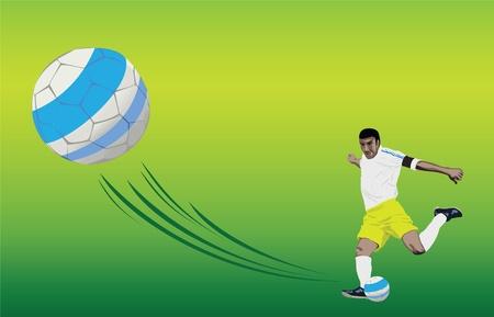 ballplayer: A player is kicking a soccer ball. Vector format.