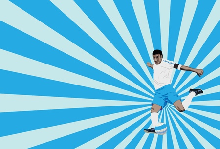 sunrays: vector illustration of a soccer player trying to score, with ray burst background