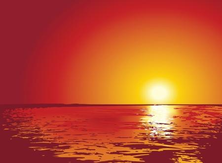 hopeful: illustrations of sunset or sunrise from the sea, for spiritual backgrounds. Illustration