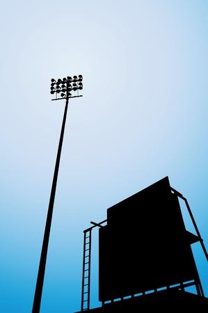 scorebord: vector illustraties van het stadion, met silhouetten van schijnwerper en scorebord. Stock Illustratie