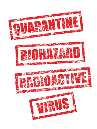 quarantine: stamps in grunge style, looks like had been used in tough environment. Vector forms, isolated on white.