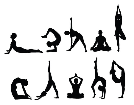 healthy exercise: yoga pose silhouettes, in various poses. Vector format. Illustration