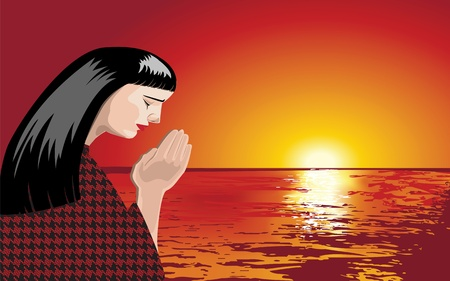 A woman is praying at sunset, vector format. Illustration