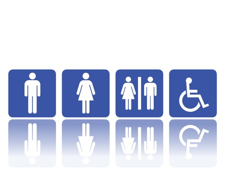 symbols for toilet, washroom, restroom, lavatory. Vector